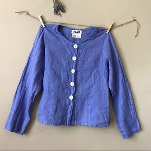 FLAX Blue linen Button Up Top (S)